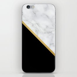 Marble, Black, White, Gold, Abstract Color Block iPhone Skin