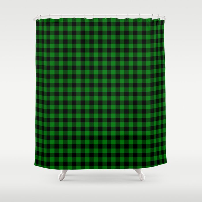 Christmas Green And Black Buffalo Check Plaid Shower Curtain