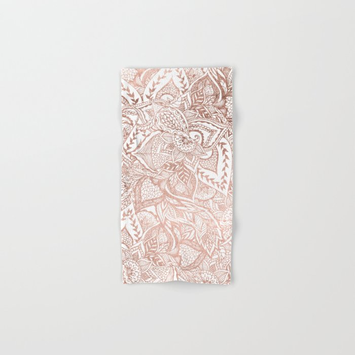 Chic hand drawn rose gold floral mandala pattern Hand & Bath Towel