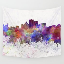 Rochester NY skyline in watercolor background Wall Tapestry