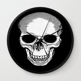 Monotone Skull Wall Clock