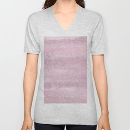 Blush pink white watercolor hand painted leaves pattern Unisex V-Neck