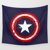 avenger Wall Tapestries featuring Captain's America splash by Sitchko