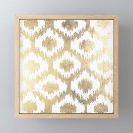 Modern white hand drawn ikat pattern faux gold Framed Mini Art Print