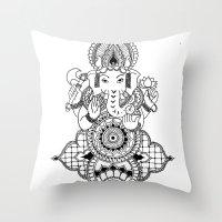 ganesh Throw Pillows featuring Ganesh by N.I.S.
