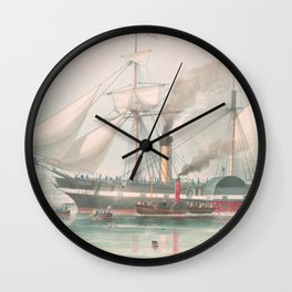 Vintage Illustration of The President's Steamship (1840) Wall Clock