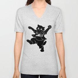 Heavy Metal Black Cat Unisex V-Neck