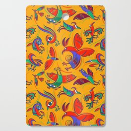 Pattern with Firebirds (on yellow background) Cutting Board