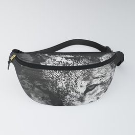 wolf splatter watercolor dark black white Fanny Pack
