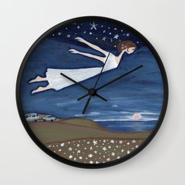 Flying Girl Remembers Her Dreams, or Night Blooming Wall Clock
