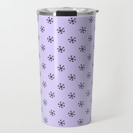 Black on Pale Lavender Violet Snowflakes Travel Mug
