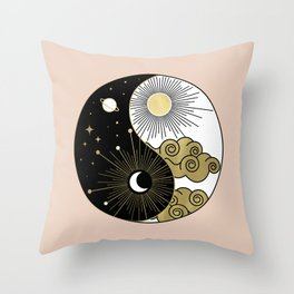 Yin and Yang Theme Throw Pillow