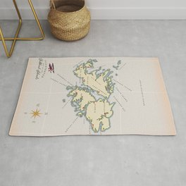 Illustrated map of the British Falkland Islands. Rug