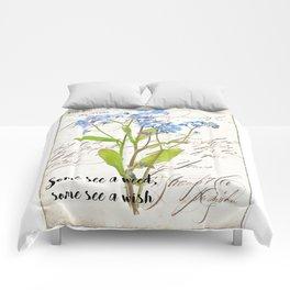 Blue Rustic Flowers Vintage Flower Quote Comforters
