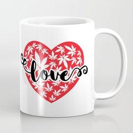 Heart with cannabis leaves and love word Coffee Mug