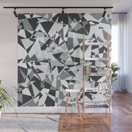 Gray-scale Triangle Scatter Wall Mural