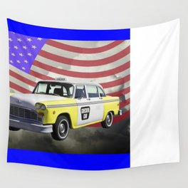Yellow and White Checkered Taxi Cab And US Flag Wall Tapestry