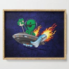 UFO Alien Hot Rod Cartoon Illustration Serving Tray