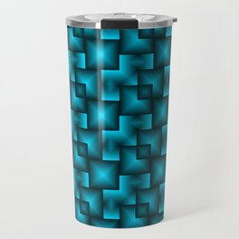 A chaotic mosaic of convex squares with blue intersecting bright rectangles and highlights. Travel Mug