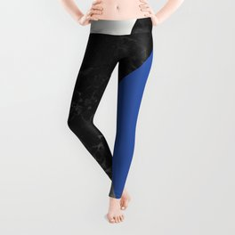 Black and White Marbles and Pantone Lapis Blue Color Leggings