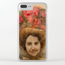 Watercolor Portrait of a Lady in an Easter Bonnet Clear iPhone Case