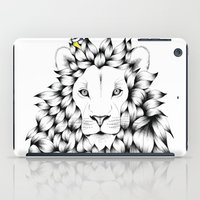 tits iPad Cases featuring Beautiful Hand Drawn Lion Pointillism Illustration with Blue Tits by KelseyEmblow