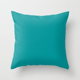 Solid Color Pantone Viridian Green 17-5126 Blue Aqua Throw Pillow