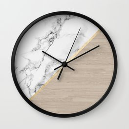 Modern white marble gold stripe wood color block Wall Clock