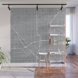 Fresno Map, California USA - Pewter Wall Mural