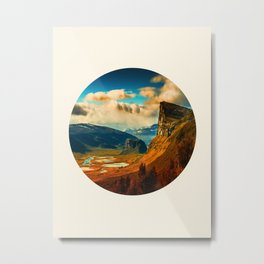 Orange Cliff Blue Sky Metal Print
