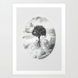 Skys The Limit Pen Pointillism Art Print
