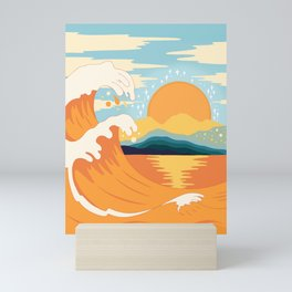 Orange wave Mini Art Print