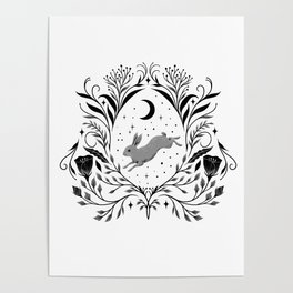 Happy Easter -Black and White Poster