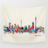 south africa Wall Tapestries featuring Johannesburg South Africa skyline by bri.buckley