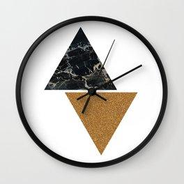 Dark marble and bronze geo Wall Clock