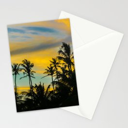 Tropical Scene at Sunset Time Stationery Cards