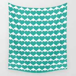 Mint heart pattern Wall Tapestry