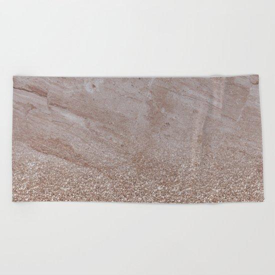 Beige shimmer marble gradient Beach Towel