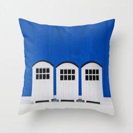 Beach huts - blue and white Throw Pillow