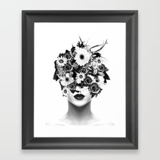 Flower Head Black & White Framed Art Print