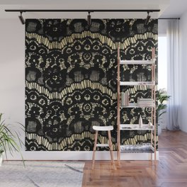 Luxury chic faux gold black floral french lace Wall Mural