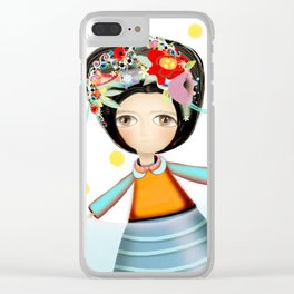 Frida and Ducks Yellow Polka Dots Clear iPhone Case
