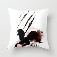 bad wolf Throw Pillows featuring Bad wolf by Halopromise