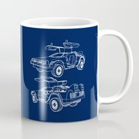 delorean Mugs featuring Delorean Time Machine by Paul Elder