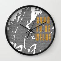 oscar wilde Wall Clocks featuring Lady Oscar Wilde by pruine