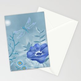 Blue Dragonfly Floral Stationery Cards