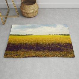 Prairie Landscape Bright Yellow Wheat Field Rug
