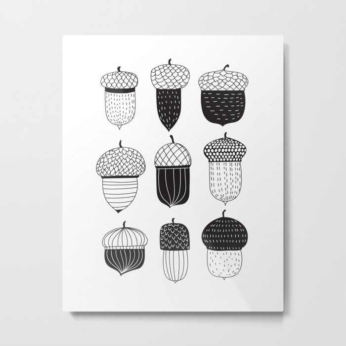 Doodle acorns autumn pattern Metal Print