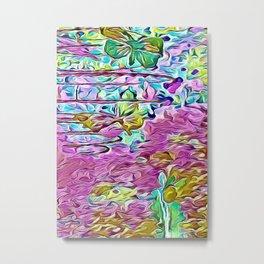 Summer flower garden butterflies abstract Metal Print