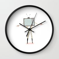 tv Wall Clocks featuring TV by Loop in the mind